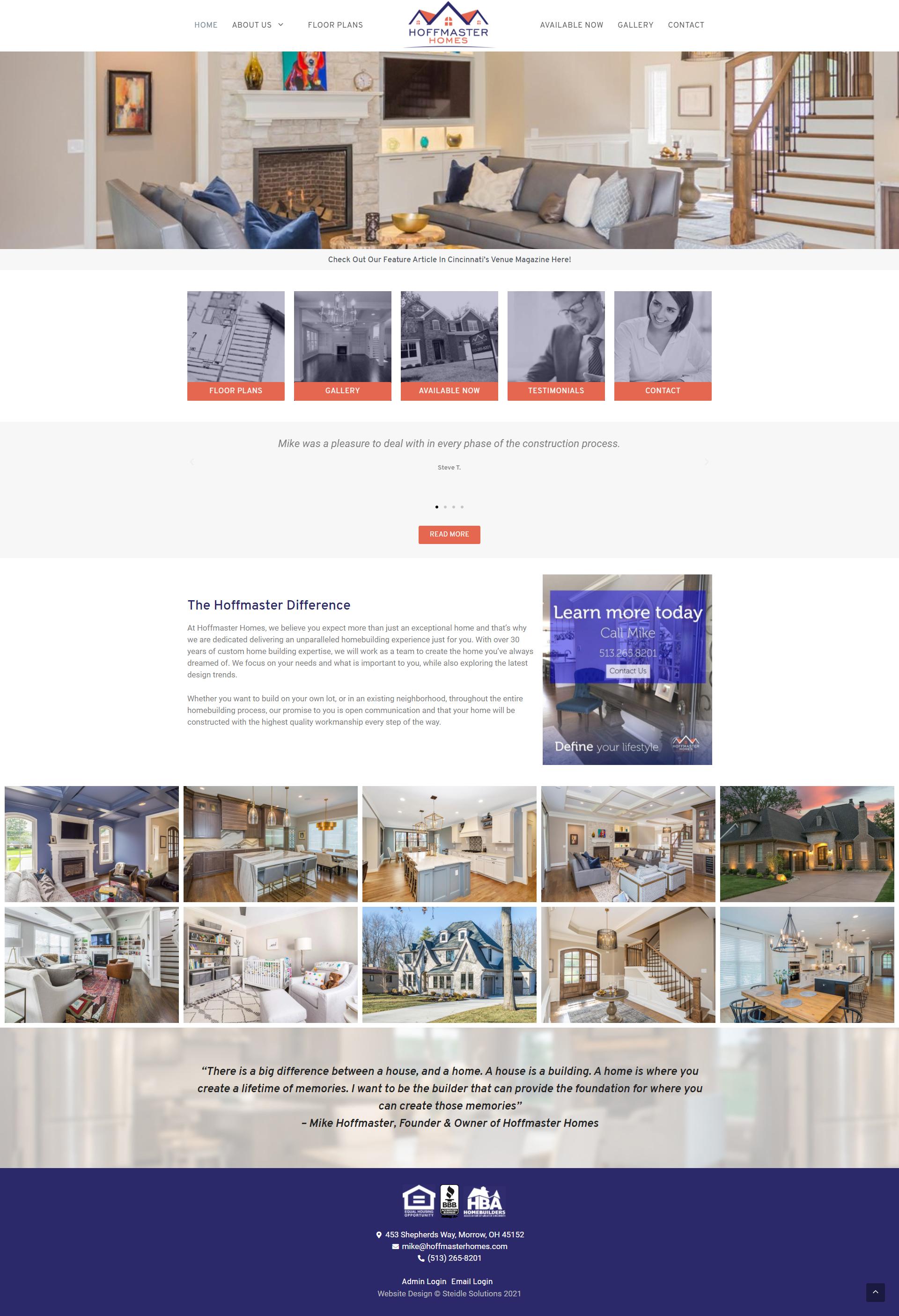 Hoffmaster Homes Homepage
